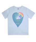 "EPJ01 Organic Combed Cotton Children's T-Shirt in Light Blue, contains the quote  ""One World, One life, Live in Peace"""