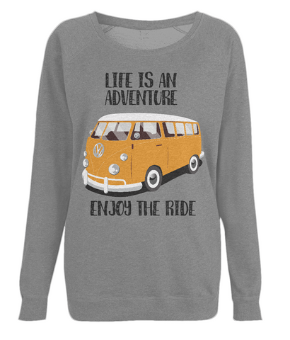 "EP66 Organic Eco Dark Heather Raglan Sweatshirt contains the quote ""Life is an adventure. Enjoy the Ride"" and features a classic VW camper van in orange."