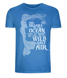 "EP01 Organic and Eco Combed Cotton Unisex bright blue T-Shirt contains the mermaid quote ""She Dreams of the Ocean late at night and Longs for the Wild Salt Air"""