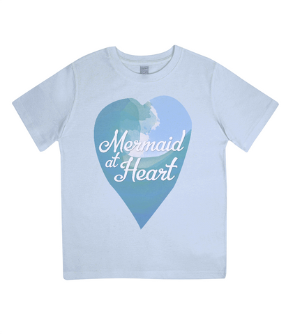 "EPJ01 Organic Combed Cotton Children's T-Shirt in Light Blue, contains the quote  ""Mermaid at Heart"""