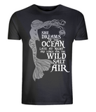 "EP01 Organic and Eco Combed Cotton Unisex black T-Shirt contains the mermaid quote ""She Dreams of the Ocean late at night and Longs for the Wild Salt Air"""