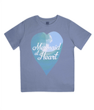"EPJ01 Organic Combed Cotton Children's T-Shirt in Faded Denim, contains the quote  ""Mermaid at Heart"""