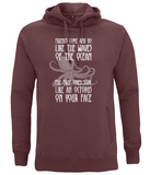 "EP60P Organic Combed Cotton Unisex Claret Red Hoodie contains the humorous quote ""Friends Come and Go Like the Waves on the Ocean - The True Ones Stay Like an Octopus on your Face"" with an image of an octopus"