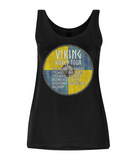"EP44 Organic Eco Women's Tencel Blend Viking Vest in Black contains an amusing quote set on a Viking shield  ""Viking World Tour"""