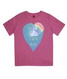 "EPJ01 Organic Combed Cotton Children's T-Shirt in Hot Pink, contains the quote  ""One World, One life, Live in Peace"""