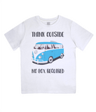 "EPJ01 Organic Combed Cotton Children's T-Shirt in White, contains the quote  ""Think Outside, No Box Required"""