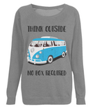 "EP66 Eco Organic Dark Heather Raglan Sweatshirt contains the quote ""Think Outside. No Box Required"" and features a classic VW camper van in turquoise."