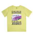 "EPJ01 Organic Combed Cotton Children's T-Shirt in Yellow, contains the quote  ""It's not about the destination. It's all about the Journey"""