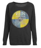 "EP66 Organic Combed Cotton, Black Raglan Sweatshirt contains an amusing quote set on a Viking shield ""Viking World Tour"""