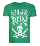 "EP01 Organic Combed Cotton Unisex green T-Shirt with the famous Calico Jack skull and crossed cutlas and the humorous Pirate quote ""I am the Reason why all the Rum is Gone"""