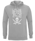 "EP60P Organic Combed Cotton Unisex Melange Grey Hoodie features the famous Calico Jack skull and crossed cutlasses along with the humorous Pirate quote ""I am the Reason why all the Rum is Gone"""