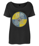 "EP46 This beautiful Organic Eco Women's Oversized Viking T-Shirt in black contains quote set on a Viking shield  ""Viking World Tour"""