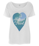 "EP46 Eco and Organic Women's Oversized white T-Shirt features a watercolour ocean wave and the quote ""Mermaid at Heart"""