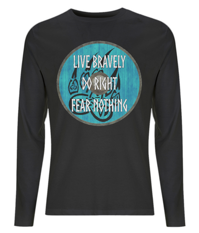 "EP01L Organic Combed Cotton Men's Long Sleeve black T-Shirt  featuring a turquoise Viking shield with black bear claw design and the quote ""Live Bravely Do Right Fear Nothing"""
