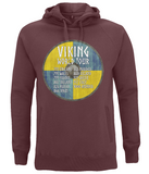 "EP60P Organic Combed Cotton Unisex Claret Red Hoodie contains an amusing quote set on a Viking shield ""Viking World Tour"""
