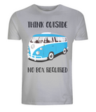 "EP01 Eco Organic Unisex melange grey T-Shirt with the quote ""Think Outside. No Box Required"" and features a classic VW camper van in turquoise."