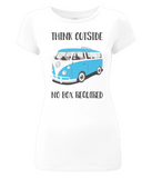 "EP04 Organic and Eco Women's Slim-Fit white T-Shirt contains the thoughtful quote ""Think Outside, No Box Required"" and features a classic VW camper van in turquoise blue."