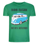 "EP01 Eco Organic Unisex green T-Shirt with the quote ""Think Outside. No Box Required"" and features a classic VW camper van in turquoise."