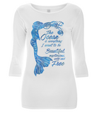 Organic Eco Women's 3/4 Sleeve Mermaid T-Shirt - The Ocean is Everything