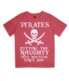 "EPJ01 Organic Combed Cotton Children's T-Shirt in Red contains the quote  ""Pirates - putting the naughty into nautical since 1650"""