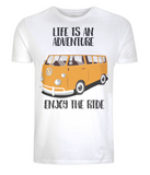 "EP01 Organic Eco Unisex white T-Shirt contains the quote ""Life is an adventure. Enjoy the Ride"" and features a classic VW camper van in orange"
