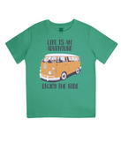 "EPJ01 Organic Combed Cotton Children's T-Shirt in Green, contains the quote  ""Life is an adventure. Enjoy the Ride"""