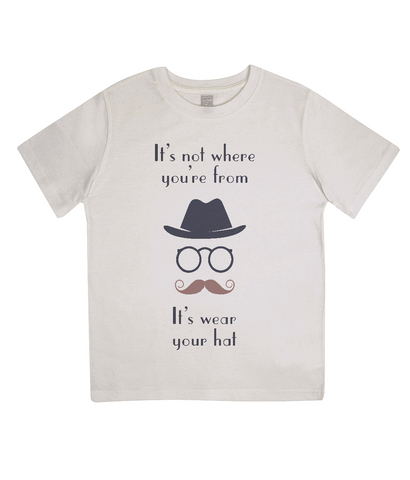 "EPJ01 ""It's not where you're from, it's wear your hat"" Organic Children's T-shirt Ecru"