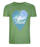 "EP01 Eco and Organic unisex light green T-Shirt with a watercolour ocean wave and the quote ""Mermaid at Heart"" enclosed a heart"