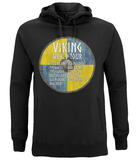 "EP60P Organic Combed Cotton Unisex Black Hoodie contains an amusing quote set on a Viking shield ""Viking World Tour"""