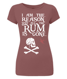 "EP04 Organic Eco Women's Slim Fit pirate T-Shirt in dark red featuring the humorous Pirate quote ""I am the Reason why all the Rum is Gone"" and includes Captain Jack Sparrow's Flag"