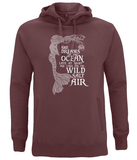 "EP60P Organic and Eco Combed Cotton Unisex Claret Red Hoodie contains the emotive and mermaid inspired quote ""She Dreams of the Ocean late at night and Longs for the Wild Salt Air"""