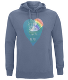 "EP60P Eco and Organic unisex Faded Denim Hoodie features a watercolour heart including an ocean wave and a rainbow, and the inspirational quote ""One world, One Life, Live in Peace"""