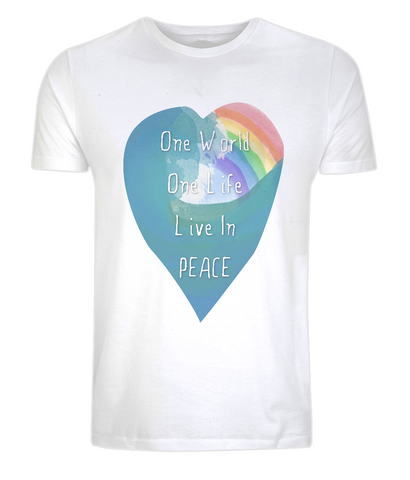 "EP01 Eco and Organic unisex white T-Shirt features a watercolour heart including an ocean wave and a rainbow, and the inspirational quote ""One world, One Life, Live in Peace"""