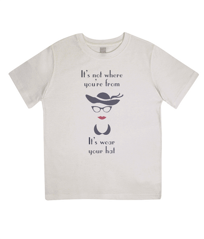 "EPJ01 ""It's not where you're from, it's wear your hat"" Organic Eco Children's T-shirt Ecru"