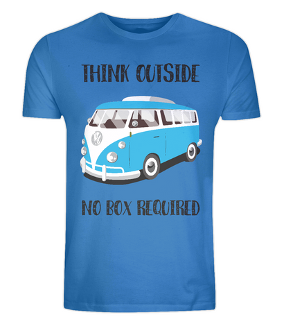 "EP01 Eco Organic Unisex bright blue T-Shirt with the quote ""Think Outside. No Box Required"" and features a classic VW camper van in turquoise."