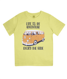 "EPJ01 Organic Combed Cotton Children's T-Shirt in Yellow, contains the quote  ""Life is an adventure. Enjoy the Ride"""