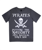 "EPJ01 Organic Combed Cotton Children's T-Shirt in Black contains the quote  ""Pirates - putting the naughty into nautical since 1650"""