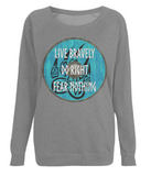 "EP66 Organic Combed Cotton, Dark Heather Raglan Sweatshirt contains an inspirational and emotive quote set on a Viking shield ""Live Bravely - Do Right - Fear Nothing"""