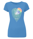 "EP04 Eco and Organic Women's Slim-Fit bright blue T-Shirt features a watercolour heart including an ocean wave and a rainbow ""One world, One Life, Live in Peace"