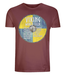 "EP01 Organic Cotton Eco T-Shirt in dark red, contains quote ""Viking World Tour"" and is set on a blue and yellow Viking shield"