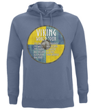 "EP60P Organic Combed Cotton Unisex Faded Denim Hoodie contains an amusing quote set on a Viking shield ""Viking World Tour"""