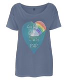 "EP46 Eco and Organic Women's Oversized denim blue T-Shirt featuring a watercolour heart with an ocean wave and a rainbow, and the inspirational quote ""One world, One Life, Live in Peace""."