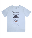 "EPJ01 ""With great grooming comes great responsibility"" :o) This soft Organic Eco Children's T-shirt Light Blue"