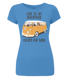 "EP04 Organic Eco Women's Slim-Fit bright blue T-Shirt contains the quote ""Life is an adventure. Enjoy the Ride""and features a classic VW camper van in orange"