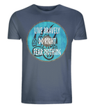 "EP01 Organic denim blue T-Shirt contains an emotive quote ""Live Bravely, Do Right, Fear Nothing"" and is set on a turquoise Viking shield featuring a bear claw design"