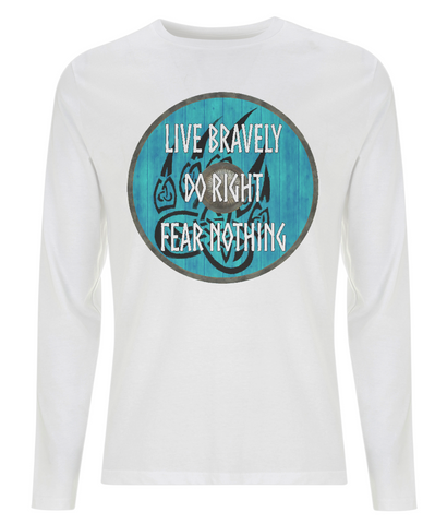 "EP01L Organic Combed Cotton Men's Long Sleeve white T-Shirt  featuring a turquoise Viking shield with black bear claw design and the quote ""Live Bravely Do Right Fear Nothing"""