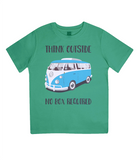 "EPJ01 Organic Combed Cotton Children's T-Shirt in Green, contains the quote  ""Think Outside, No Box Required"""