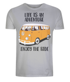 "EP01 Organic Eco Unisex melange grey T-Shirt contains the quote ""Life is an adventure. Enjoy the Ride"" and features a classic VW camper van in orange"