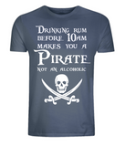 "EP01 Organic Combed Cotton Unisex denim blue T-Shirt features a skull and crossed cutlasses the Pirate quote ""Drinking Rum before 10am makes you a Pirate not an Alcoholic"""