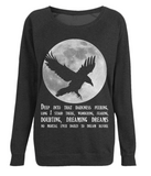 EP66 Organic Combed Cotton Unisex Black Raglan Sweatshirt features a dramatic image of the full moon with a silhouetted Raven, and gothic quote from 'The Raven' by Edgar Allan Poe,